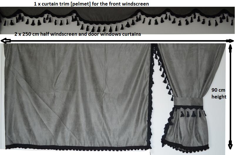 Truck Curtains Set Grey With Black Tassels Man Scania
